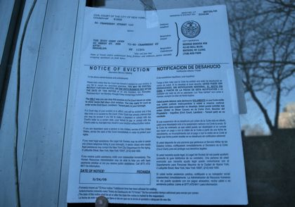 And, the eviction notices posted in the window (BHB/Sarah Portlock)