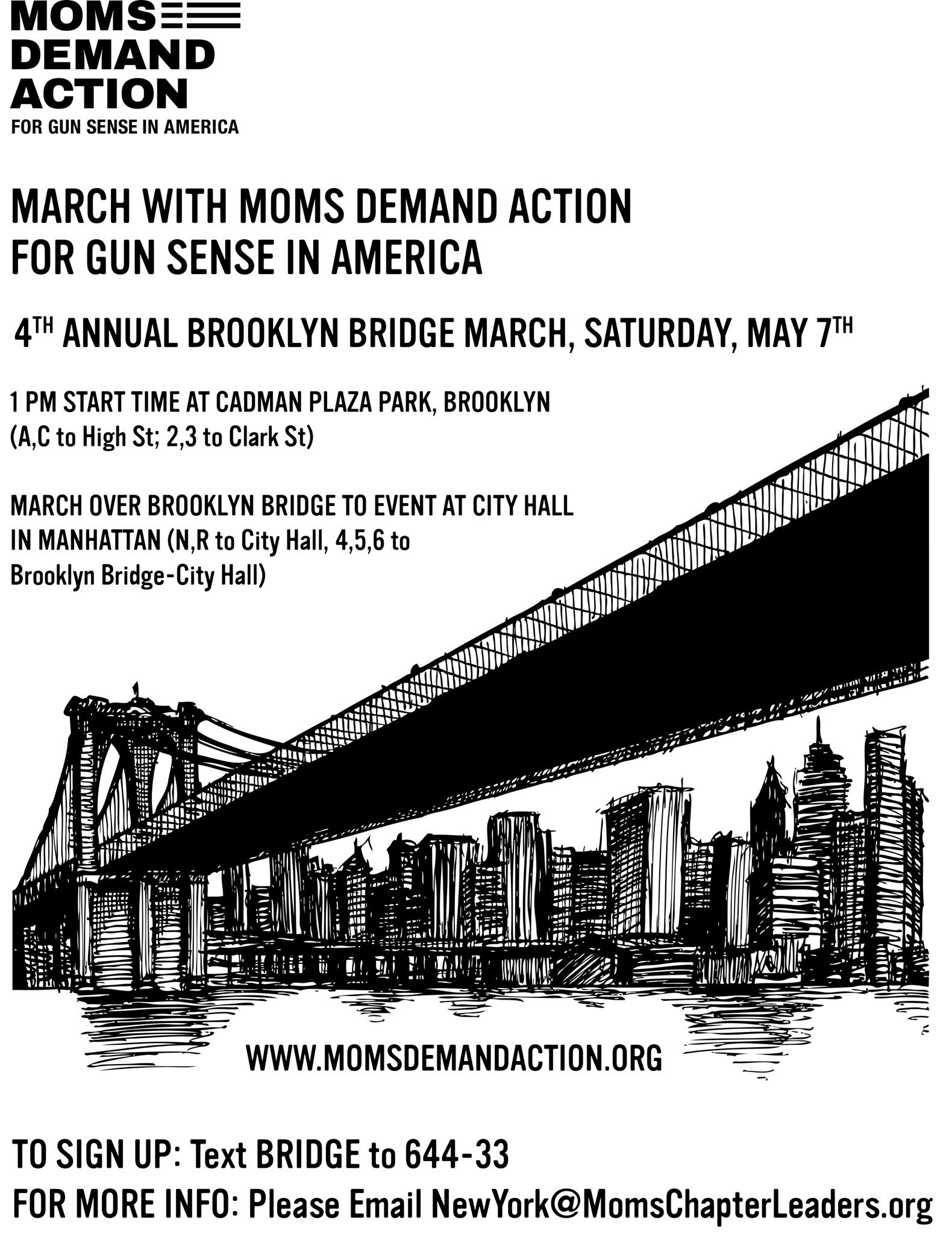 Moms Demand Brooklyn Bridge March Flyer