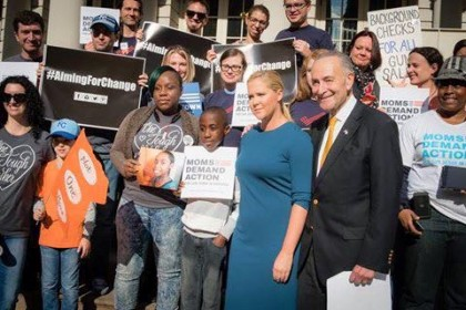 Jaime Pessin Stands with Comedian Amy Schumer and Senator Chuck Schumer at #AimingForChange Press Conference