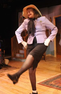"Marilyn kicks up her heels in ""Waiting in the Wings"" at the Heights Players. Photo by M. Hermann"