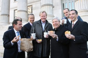 Photo by Kathryn Kirk   In photo (left to right): Rob Walsh, commissioner, New York City Department of Small Business Services; Danny Meyer, CEO, Union Square Hospitality Group; David Swinghamer, CEO, Shake Shack; BP Markowitz; Randy Garutti, COO, Shake Shack; Joe Chan, president, Downtown Brooklyn Partnership