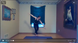 Hannah Flam leading a virtual barre class from her parents' home in Minnesota.